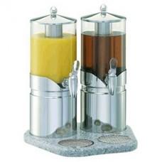 Диспенсер для сока двойной 2.5л*2; сталь нерж.; серебрян.,прозр.