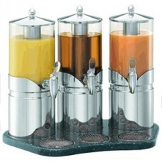 Диспенсер для сока тройной 2.5л*3; сталь нерж.; серебрян.,прозр.