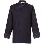 Куртка поварская р.L на кнопках, полиэстер,хлопок, черный,белый