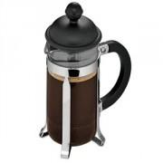 Кофейник с прессом, стекло,пластик, 350мл, D=70,H=190,B=125мм, черный,прозр.
