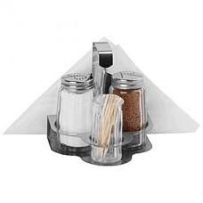 Набор соль/перец+ст.для зубоч.+салфет., сталь нерж.,стекло, 50мл, H=10.5,L=10,B=10.7см, серебрян.,проз