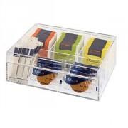 Контейнер для пакетиков чая 4 отделения, акрил, H=9,L=22,B=17см