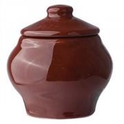 Горшок для запекания с крыш., керамика, 100мл, D=6,H=8см, тем.корич.